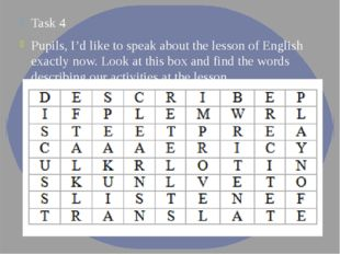 Task 4 Pupils, I'd like to speak about the lesson of English exactly now. Loo