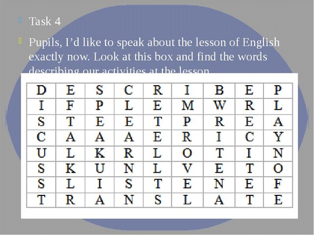 Task 4 Pupils, I'd like to speak about the lesson of English exactly now. Loo...