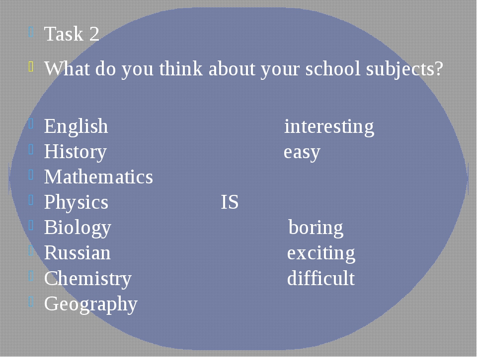Task 2 What do you think about your school subjects? English interesting Hist...