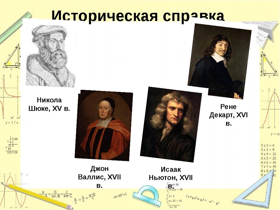 Историческая справка Никола Шюке, ХV в. Рене Декарт, ХVІ в. Джон Валлис, ХVІІ...