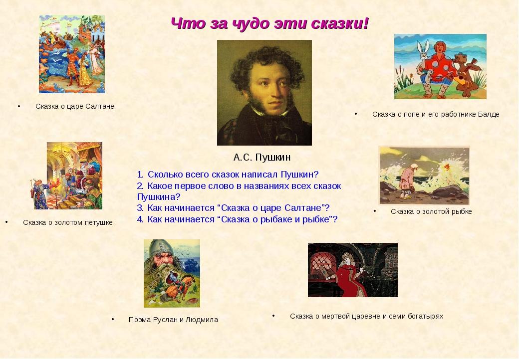 Что за чудо эти сказки! Сказка о царе Салтане А.С. Пушкин Сказка о золотом пе...