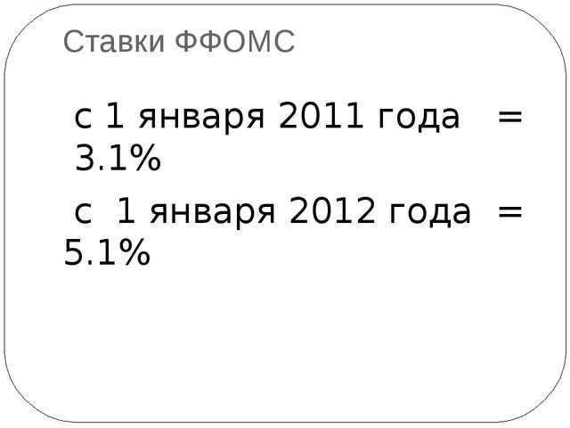 Ставки ФФОМС с 1 января 2011 года = 3.1% с 1 января 2012 года = 5.1%