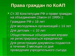 Права граждан по КоАП Ст.30 Конституции РФ о праве граждан на объединения (За