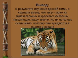 Вывод: В результате изучения данной темы, я сделала вывод, что тигр – одно из
