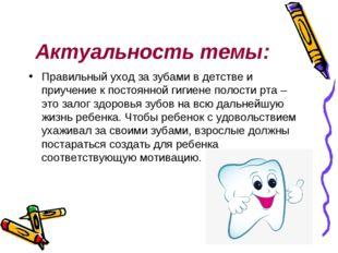 Актуальность темы: Правильный уход за зубами в детстве и приучение к постоянн