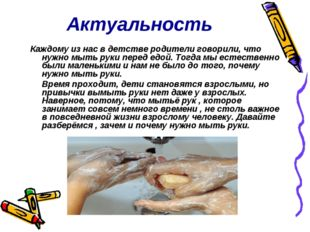 Актуальность Каждому из нас в детстве родители говорили, что нужно мыть руки