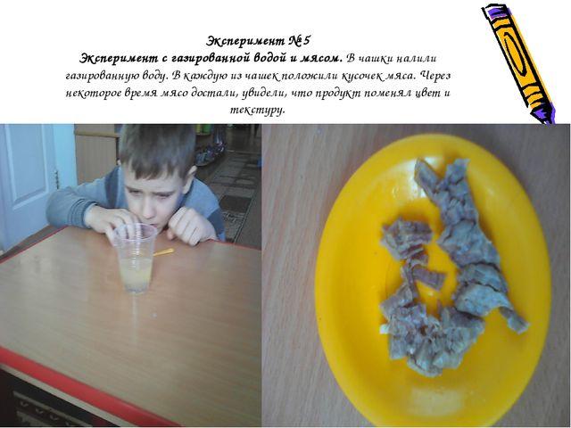 Эксперимент № 5 Эксперимент с газированной водой и мясом. В чашки налили гази...