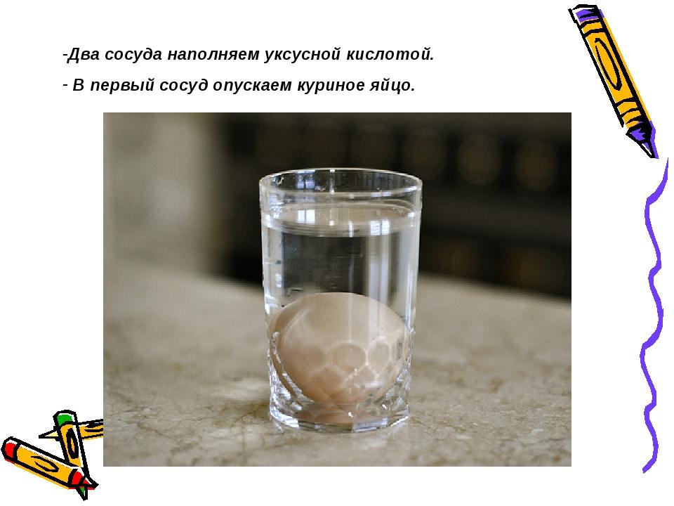 Два сосуда наполняем уксусной кислотой. В первый сосуд опускаем куриное яйцо.
