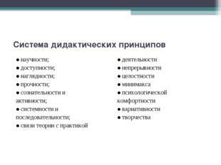 Система дидактических принципов ●научности; ●доступности; ●наглядности; ●про