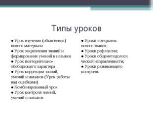 Типы уроков ●Урок изучения (объяснения) нового материала ●Урок закрепления зн
