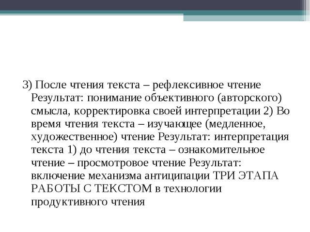 3) После чтения текста – рефлексивное чтение Результат: понимание объективног...