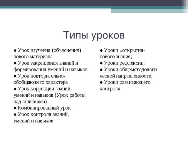 Типы уроков ●Урок изучения (объяснения) нового материала ●Урок закрепления зн...