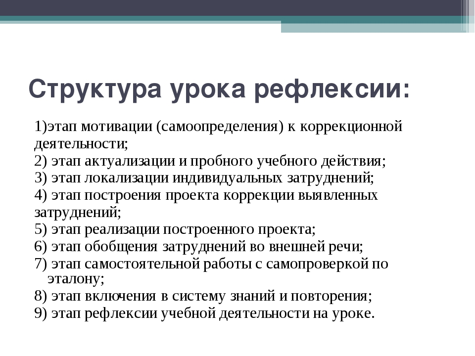 Структура урока рефлексии: 1)этап мотивации (самоопределения) к коррекционной...