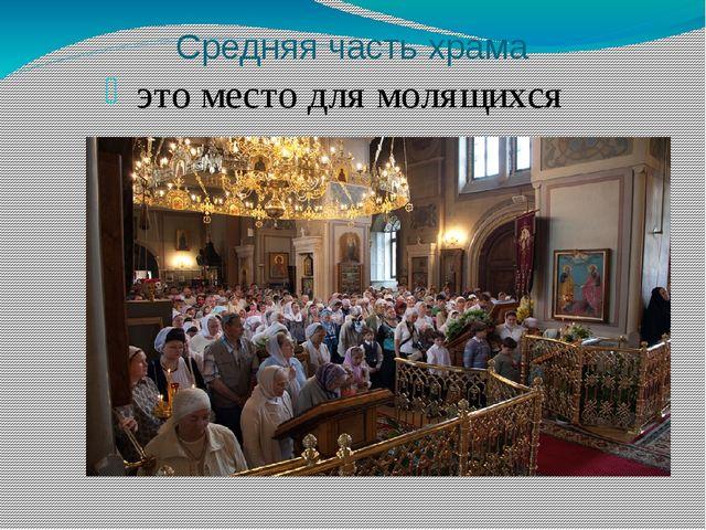 Средняя часть храма это место для молящихся