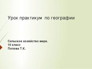 Урок практикум по географии Сельское хозяйство мира. 10 класс Попова Т.К.