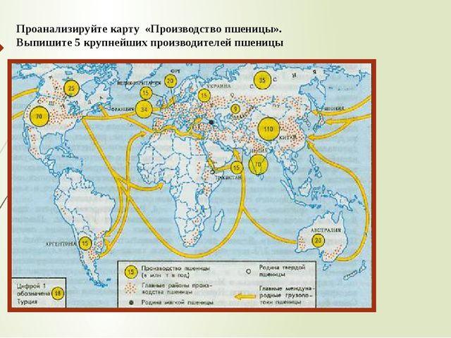 Проанализируйте карту «Производство пшеницы». Выпишите 5 крупнейших производи...