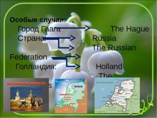Особые случаи: Город Гаага The Hague Страна: Russia The Russian Federation Го