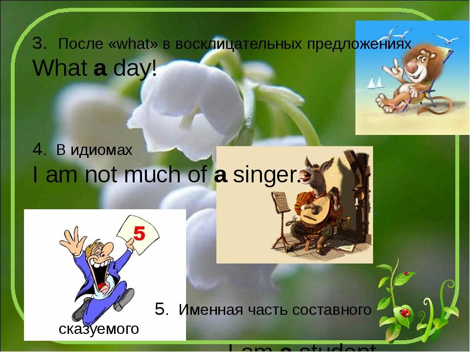3. После «what» в восклицательных предложениях What a day! 4. В идиомах I am...