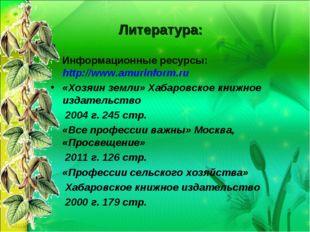 Литература: Информационные ресурсы: http://www.amurinform.ru «Хозяин земли»