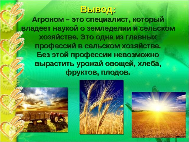 Вывод: Агроном – это специалист, который владеет наукой о земледелии и сельск...