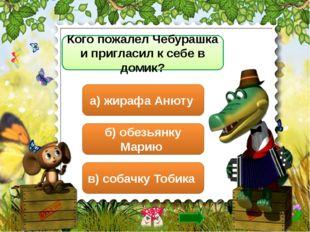 Кого пожалел Чебурашка и пригласил к себе в домик? б) обезьянку Марию в) соба