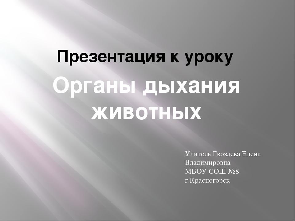 Органы дыхания животных Презентация к уроку Учитель Гвоздева Елена Владимиров...