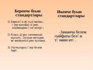Беренче буын стандартлары 1) Бирелгән мәгълүматны , әзер кагыйдәләрне, алымн