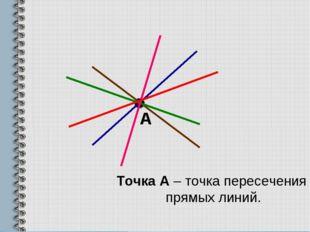 А Точка А – точка пересечения прямых линий.