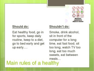 Main rules of a healthy lifestyle. Should do: Eat healthy food, go in for sp