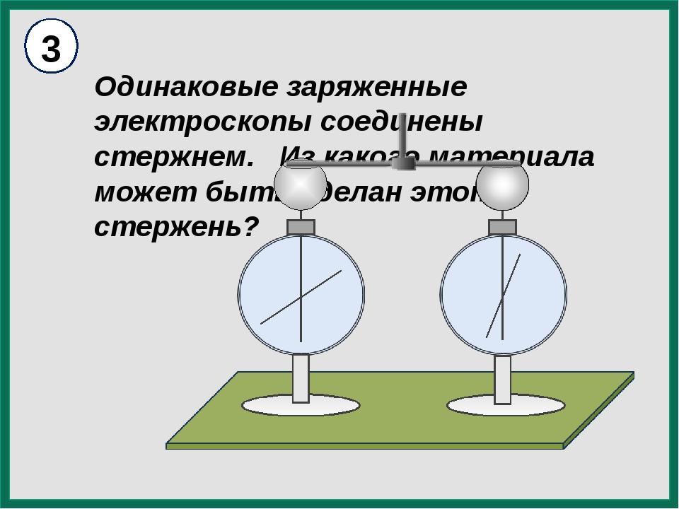 Одинаковые заряженные электроскопы соединены стержнем. Из какого материала м...