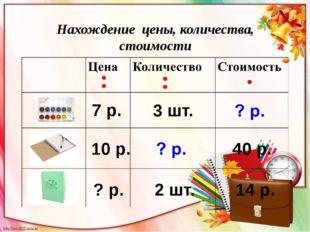 Нахождение цены, количества, стоимости 7 р. 10 р. ? р. 40 р. 14 р. 3 шт. 2 шт.