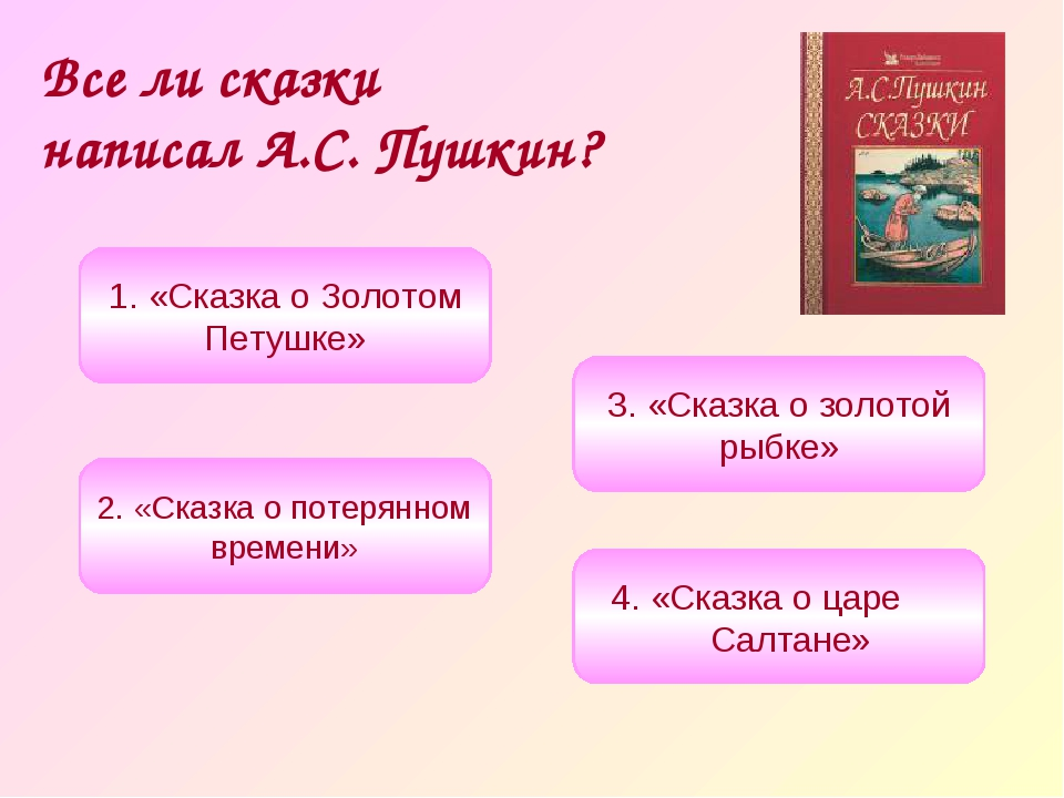 Все ли сказки написал А.С. Пушкин? 1. «Сказка о Золотом Петушке» 3. «Сказка о...