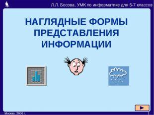 Москва, 2006 г. * НАГЛЯДНЫЕ ФОРМЫ ПРЕДСТАВЛЕНИЯ ИНФОРМАЦИИ Л.Л. Босова, УМК п