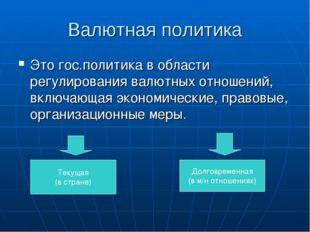 Валютная политика Это гос.политика в области регулирования валютных отношений