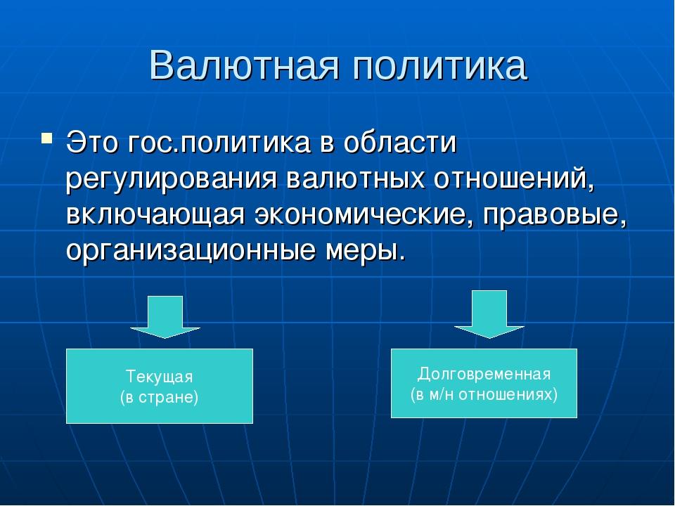 Валютная политика Это гос.политика в области регулирования валютных отношений...