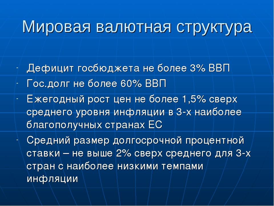 Мировая валютная структура Дефицит госбюджета не более 3% ВВП Гос.долг не бол...