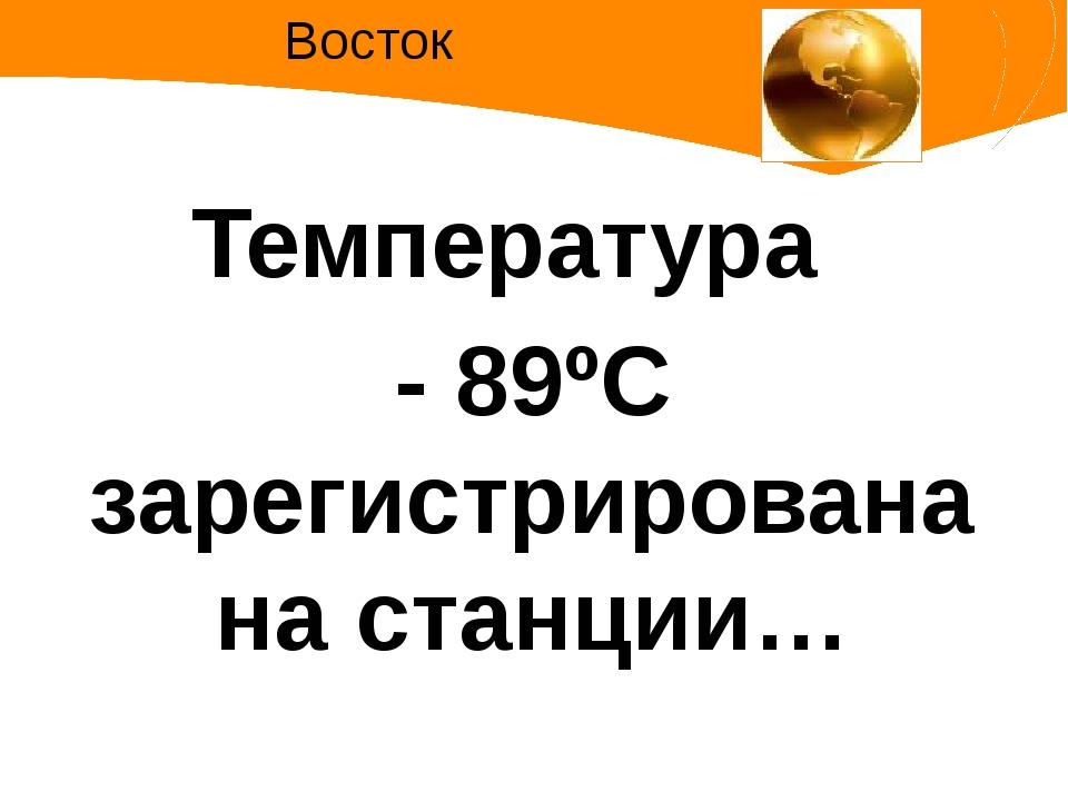 Температура - 89ºС зарегистрирована на станции… Восток