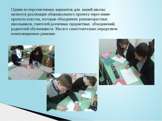 Одним из перспективных вариантов для нашей школы является реализация общешкол...