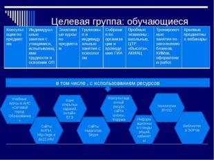Целевая группа: обучающиеся в том числе , с использованием ресурсов Учебные к