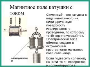Магнитное поле катушки с током Соленоид – это катушка в виде намотанного на ц