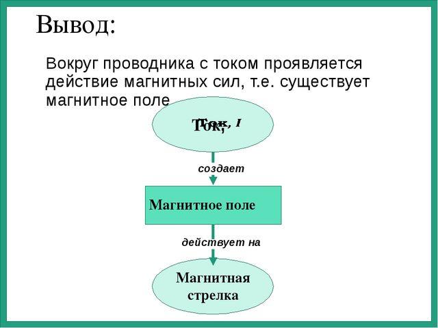 Вывод: Вокруг проводника с током проявляется действие магнитных сил, т.е. сущ...