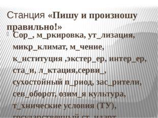 Станция «Пишу и произношу правильно!» Сор_, м_ркировка, ут_лизация, микр_клим