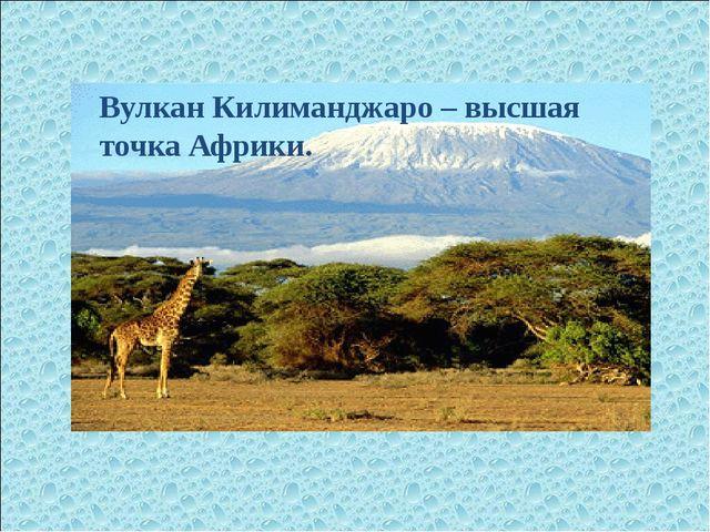 Вулкан Килиманджаро – высшая точка Африки.