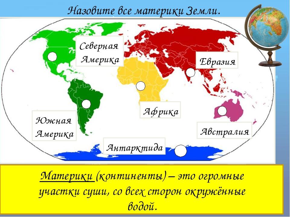Евразия Африка Антарктида Южная Америка Северная Америка Австралия Назовите...