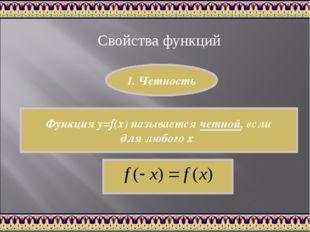 Свойства функций Функция y=f(x) называется четной, если для любого х 1. Четно
