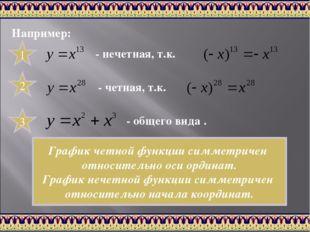 Например: 1 - нечетная, т.к. 2 - четная, т.к. 3 - общего вида . График четной