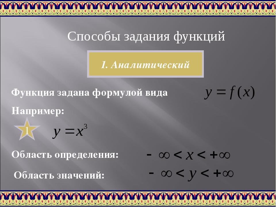 Способы задания функций 1. Аналитический Функция задана формулой вида Наприме...