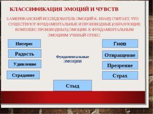 КЛАССИФИКАЦИЯ ЭМОЦИЙ И ЧУВСТВ 3.АМЕРИКАНСКИЙ ИССЛЕДОВАТЕЛЬ ЭМОЦИЙ К. ИЗАРД С