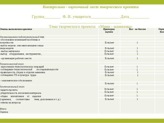 Контрольно - оценочный лист творческого проекта  Группа________ Ф. И. учащег...