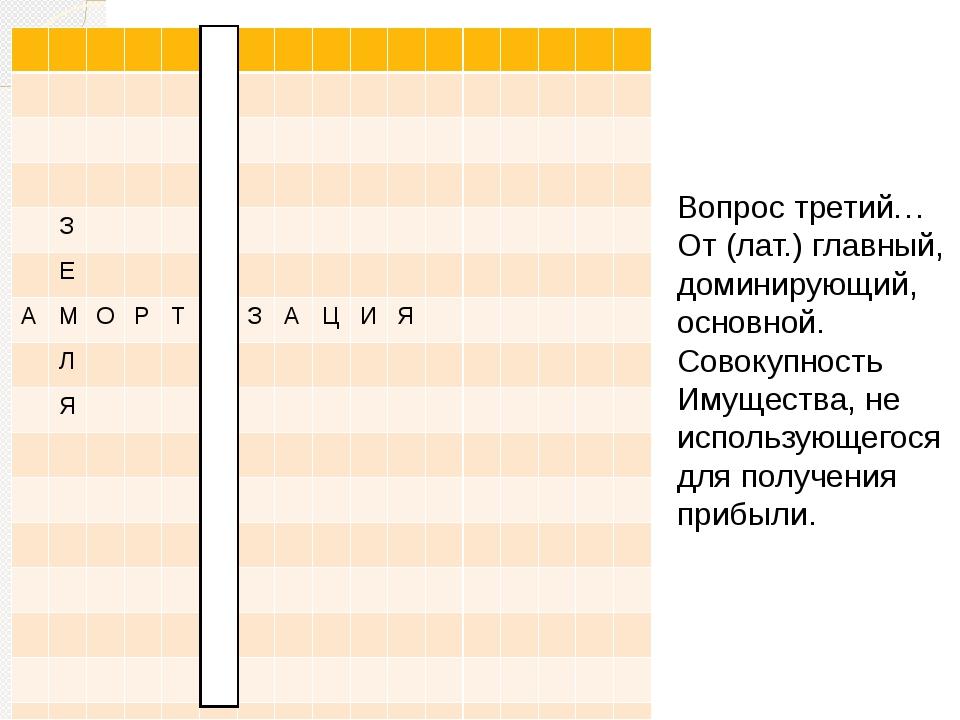 Вопрос третий… От (лат.) главный, доминирующий, основной. Совокупность Имуще...